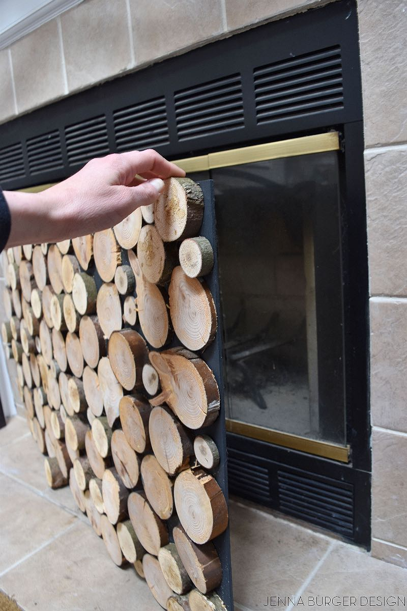 Fireplace screen made from log ends Blue Mountains Village